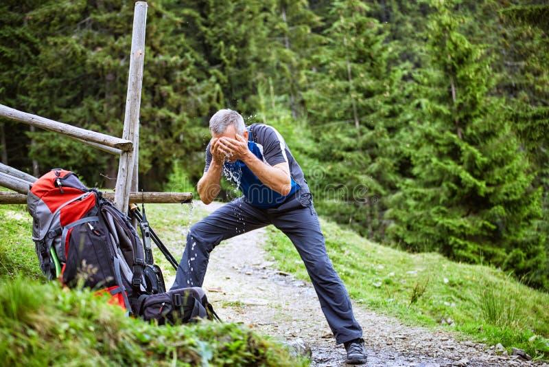 Caminhada nas montanhas no verão com uma trouxa fotos de stock