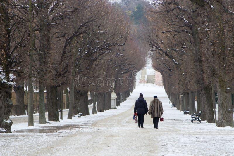 Caminhada no castelo-parque de Viena imagem de stock