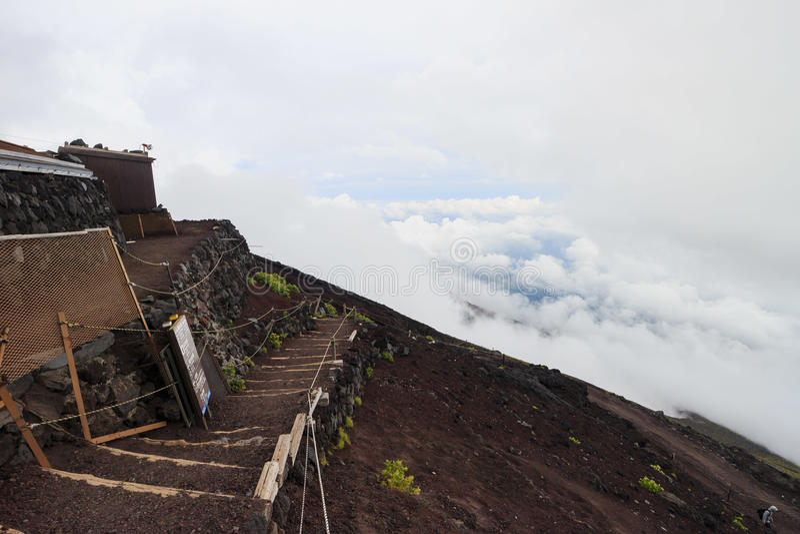 Caminhada no Monte Fuji famoso fotografia de stock