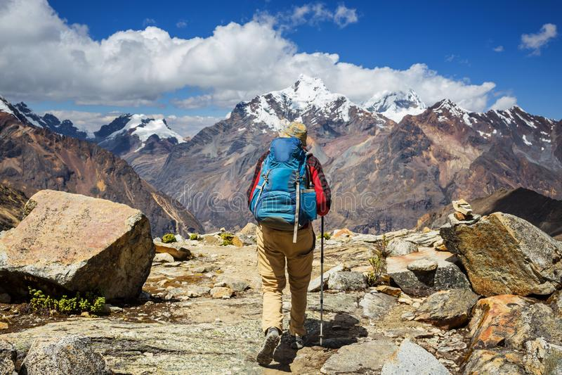 Caminhada no Peru fotografia de stock