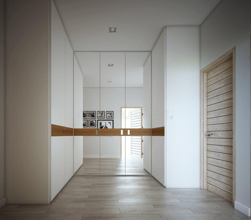 A caminhada no projeto do armário, interior ilustração stock