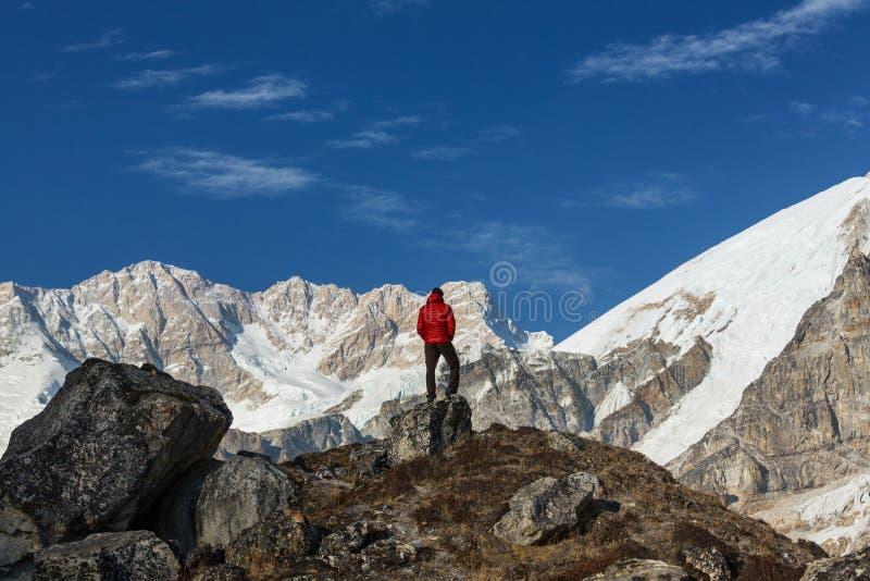 Caminhada nos Himalayas foto de stock