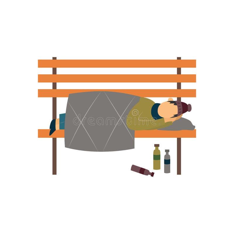 A caminhada ou o mendigo desabrigado que dormem em uma ilustração lisa do vetor do banco isolaram-se ilustração do vetor