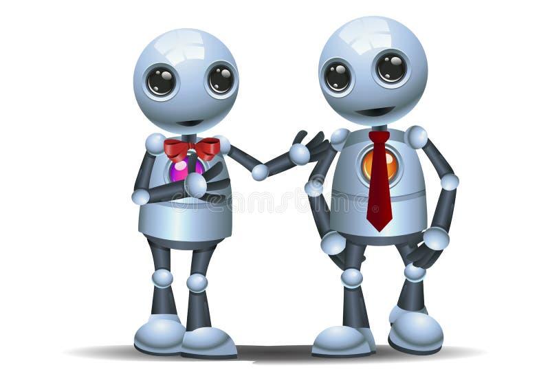 Caminhada pequena do robô dois como um sócio comercial ilustração stock
