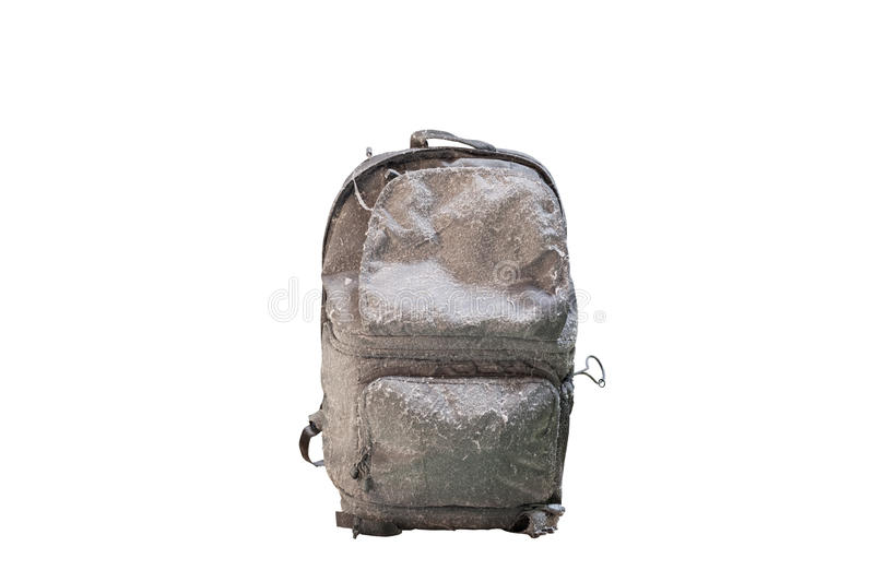 A caminhada suja backpacks para viajantes no fundo branco, com c fotos de stock royalty free