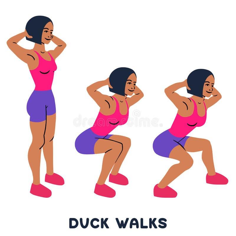 Caminhadas do pato squat Exersice do esporte Silhuetas da mulher que fazem o exercício Exercício, treinando ilustração stock