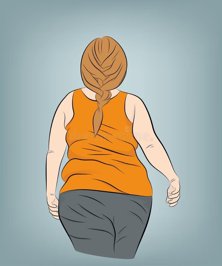 Caminhadas gordas da mulher Vista traseira Ilustração do vetor ilustração do vetor