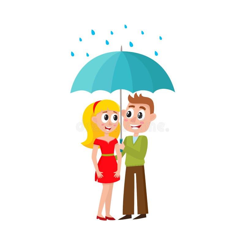 Caminhadas novas dos pares do vetor que mantêm o guarda-chuva ilustração stock