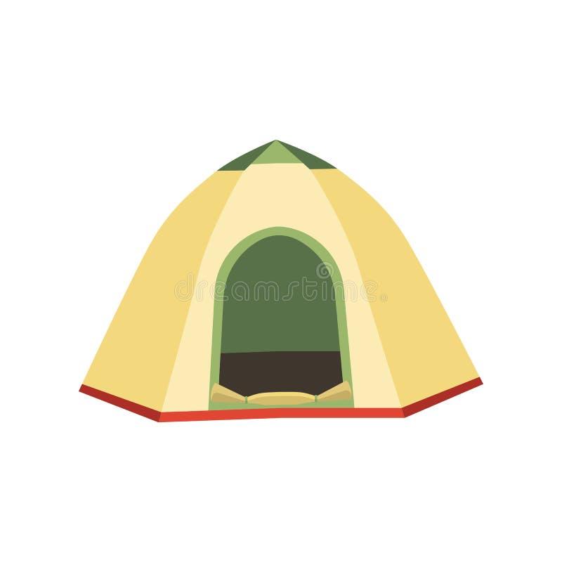 Caminhando e ícones do vetor da barraca de acampamento Coleção lisa das barracas do triângulo e do projeto da abóbada em verde, e ilustração do vetor