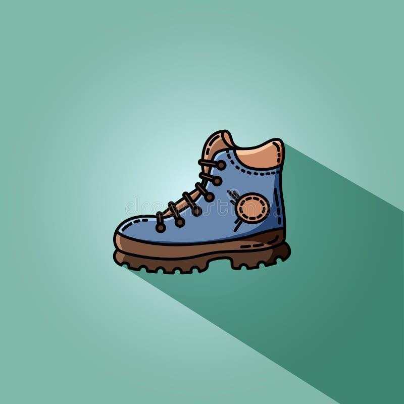 Caminhando a ilustração lisa do vetor da bota para a Web ilustração do vetor