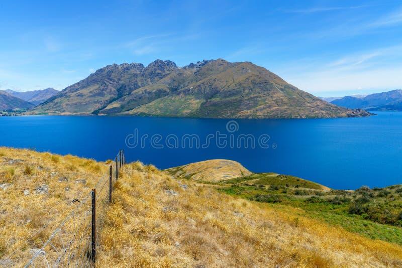 Caminhando jaques aponte a trilha, vista do wakatipu do lago, queenstown, Nova Zelândia 1 foto de stock
