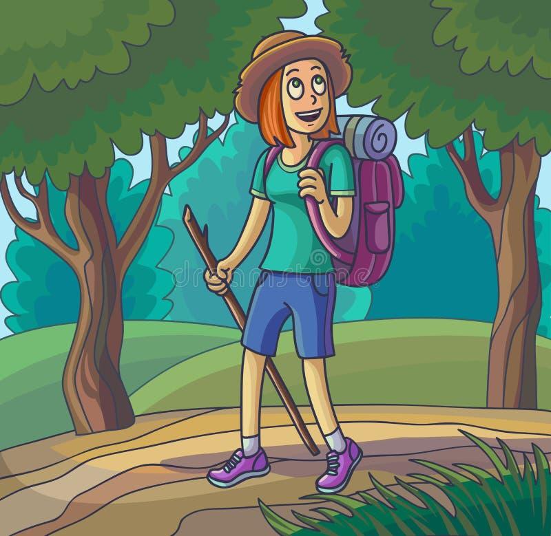 Caminhando a menina Jovem mulher de viagem perdida ou passeio ilustração stock