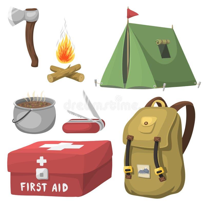 Caminhando o curso exterior de acampamento da engrenagem do acampamento base do equipamento e dos desenhos animados dos acessório ilustração stock