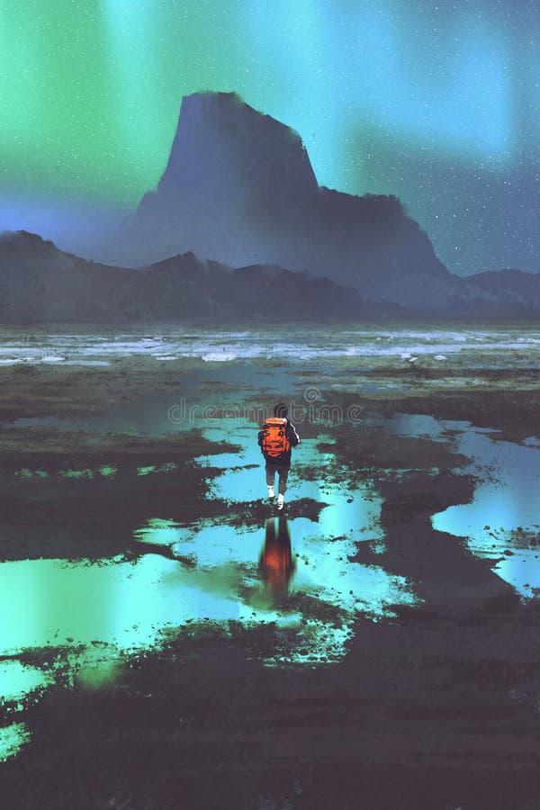 Caminhante com a trouxa que olha montanhas e a luz colorida no céu ilustração royalty free