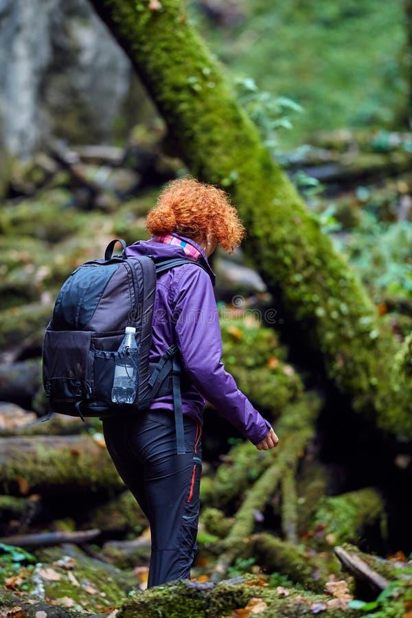 Caminhante da mulher com trouxa foto de stock royalty free