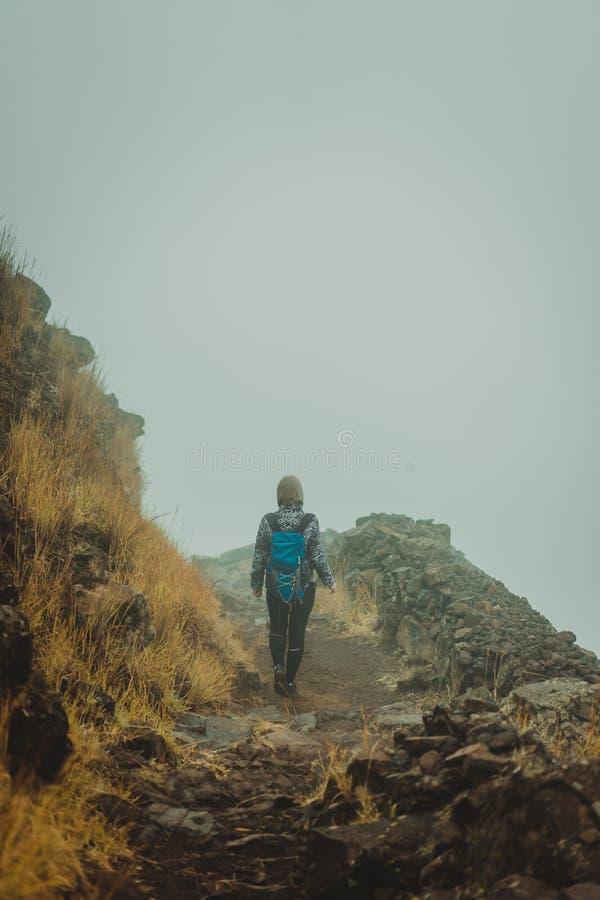 Caminhante da mulher no trajeto enevoado cobbled na crista de montanha na ilha de Santo Antao, Cabo Verde imagens de stock royalty free