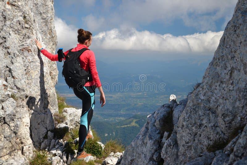 Caminhante da mulher que admira a vista imagens de stock royalty free