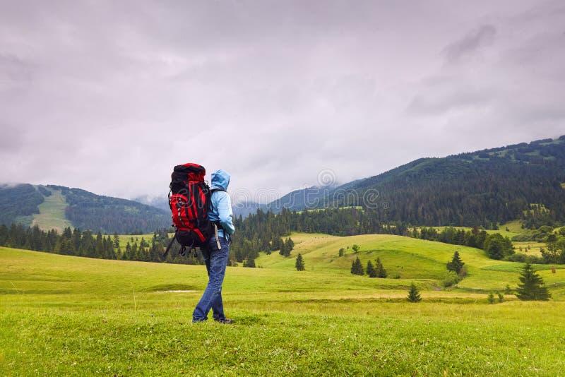 Caminhante do monte que anda no meio da região selvagem de montanha imagens de stock royalty free