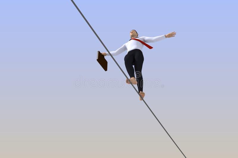 Caminhante do tightrope do homem de negócios ilustração stock