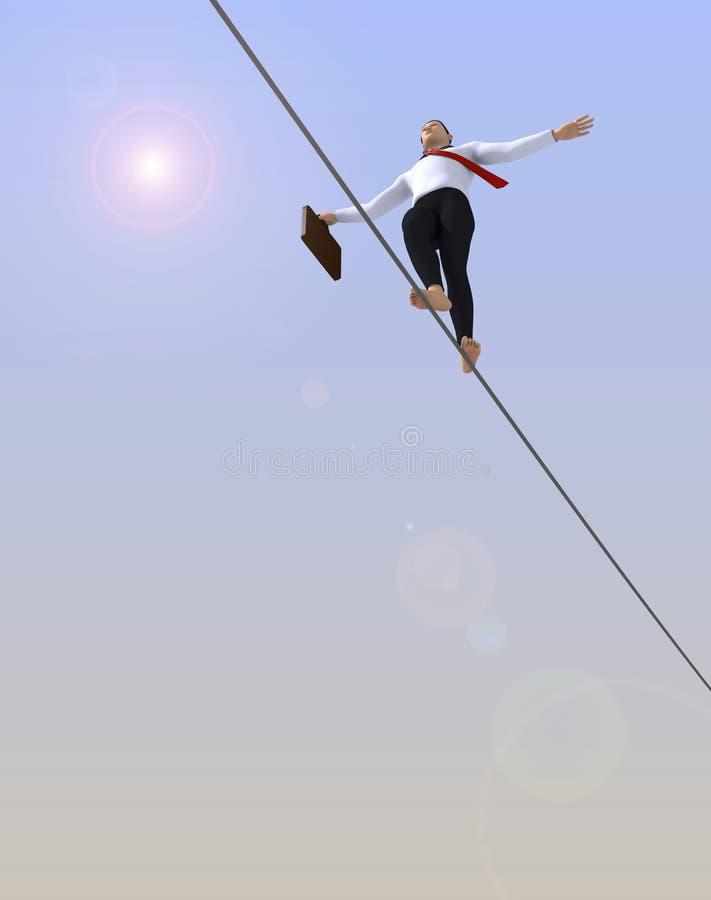 Caminhante do tightrope do homem de negócios imagens de stock royalty free