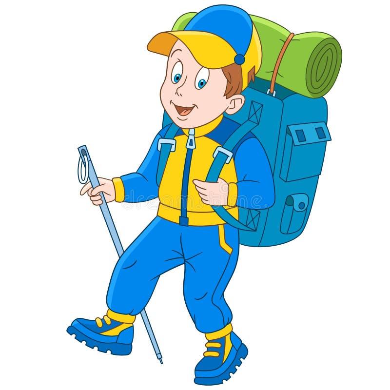 Caminhante dos desenhos animados e montanhista de montanha ilustração royalty free