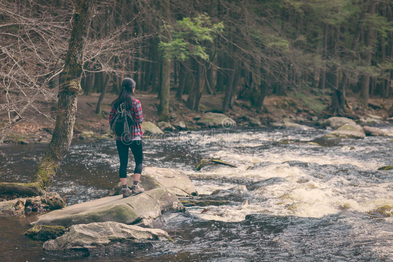 Caminhante fêmea perto da borda de um rio fotografia de stock