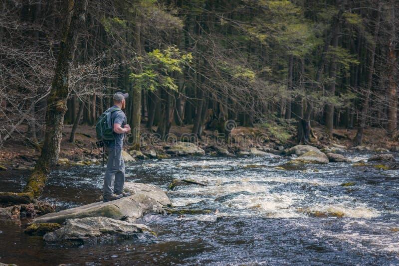 Caminhante masculino perto da borda de um rio foto de stock