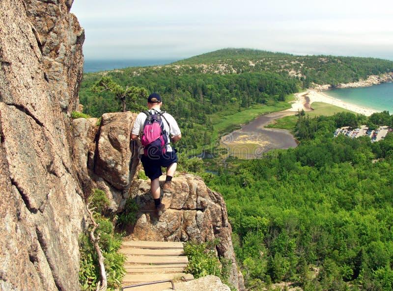 Caminhante no parque do Acadia fotos de stock royalty free