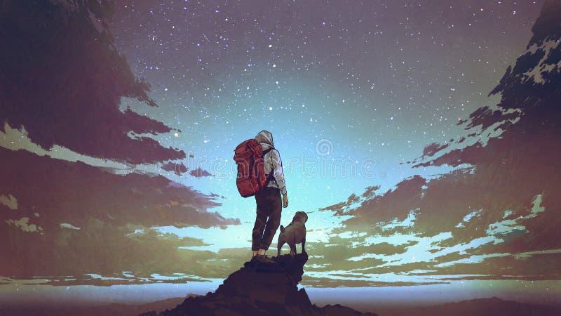 Caminhante novo e cão que olham o céu ilustração do vetor