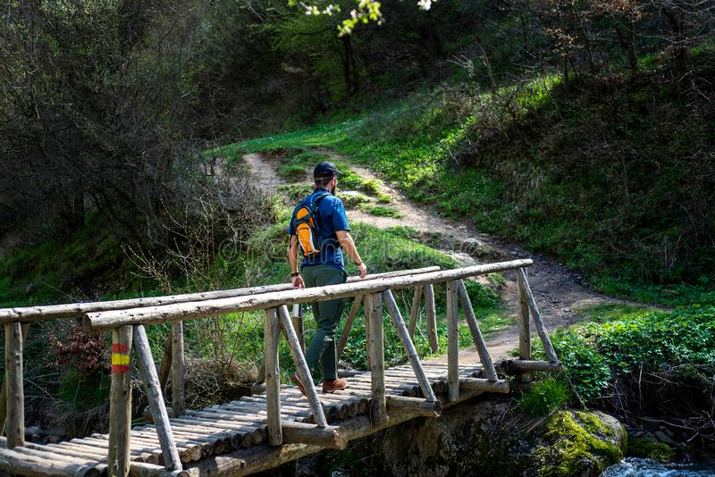 Caminhante que cruza a ponte de madeira fora fotos de stock