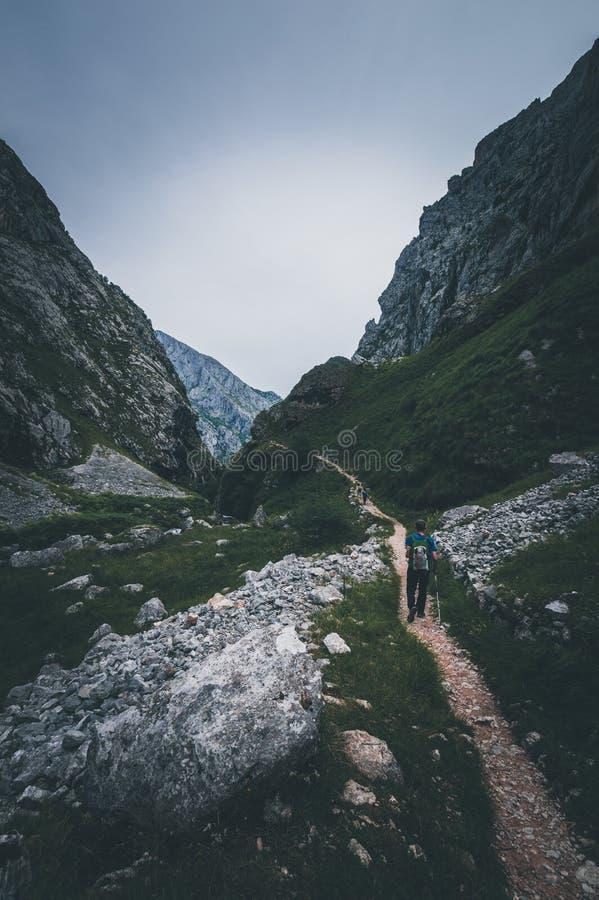 Caminhante que escala no cume de montanhas das Astúrias, Espanha foto de stock royalty free