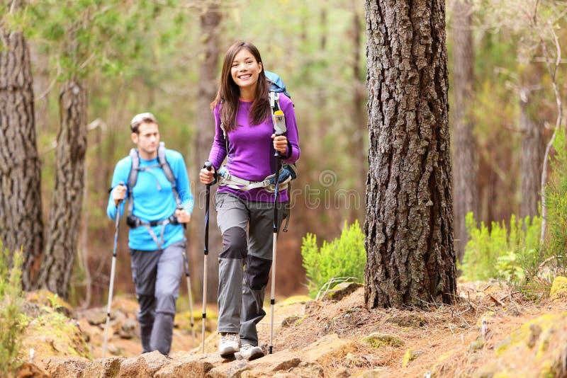 Caminhantes na floresta fotos de stock royalty free