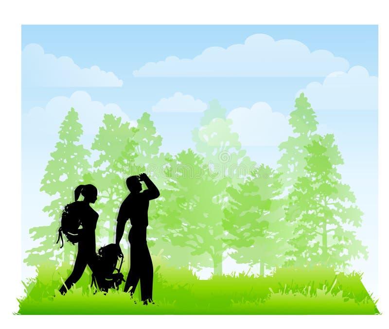 Caminhantes nas madeiras com trouxas ilustração royalty free