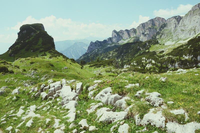 Caminhar no aeria da montanha de Rofan em Tirol (Áustria) fotos de stock