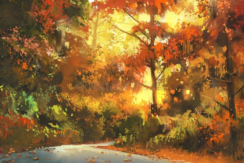 Caminho através da floresta colorida ilustração do vetor