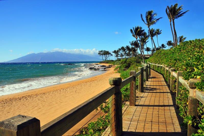 Caminho da praia de Wailea, Maui Havaí fotografia de stock