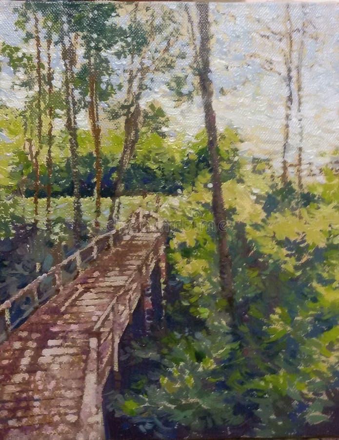 Caminho de madeira na pintura tropical do impressionismo da floresta fotografia de stock