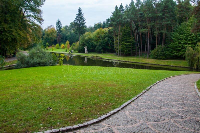 Caminho de pedra modelado perto do gramado aparado verde fresco foto de stock royalty free