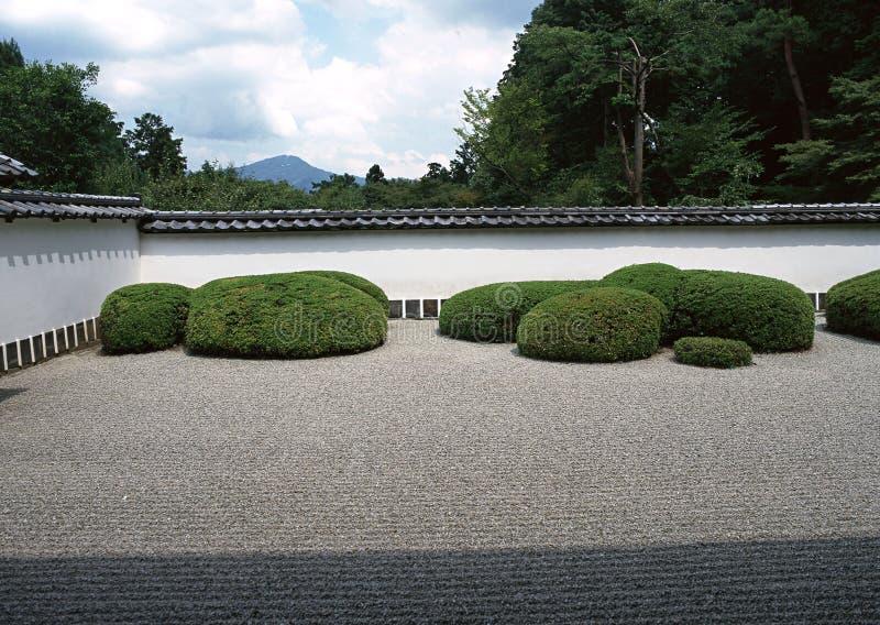 Caminho exterior japonês do jardim com arbustos verdes e fundo de pavimentação de pedra fotografia de stock royalty free