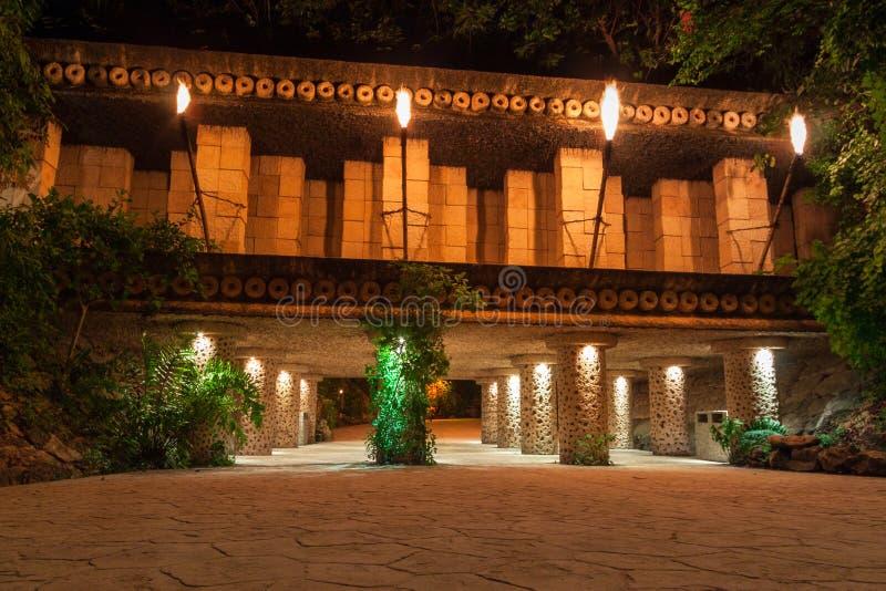 Caminho na selva mexicana de Iucatão na noite fotografia de stock royalty free