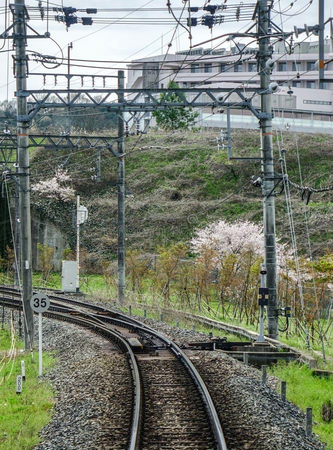 Caminhos de ferro no campo de Osaka, Japão imagem de stock royalty free