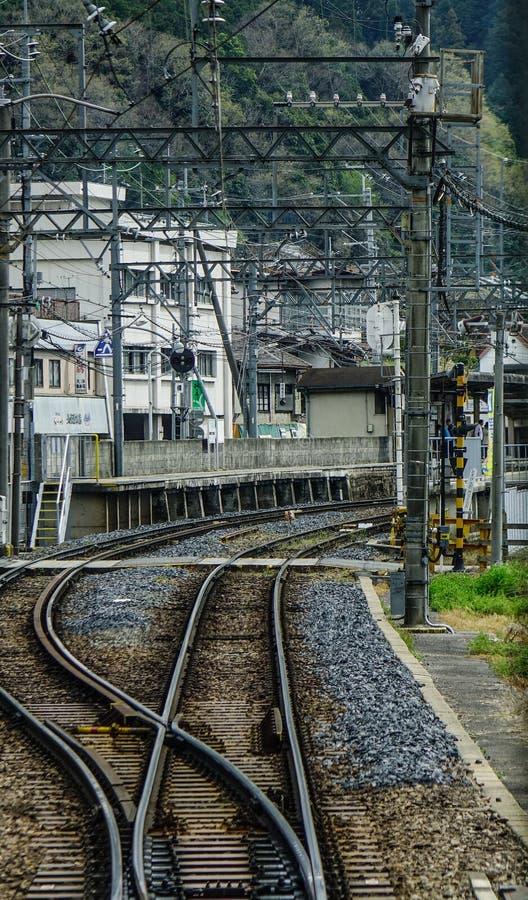 Caminhos de ferro no campo de Osaka, Japão foto de stock