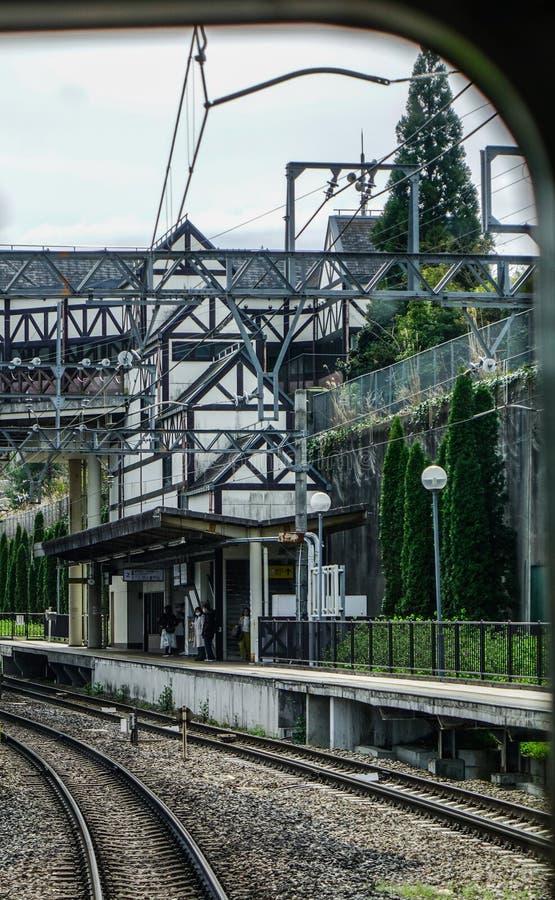 Caminhos de ferro no campo de Osaka, Japão fotos de stock royalty free