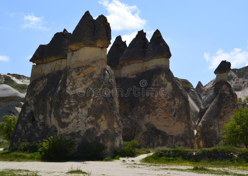 Camini leggiadramente vicino a Goreme, Pasabagi, Cappadocia, Turchia fotografia stock libera da diritti