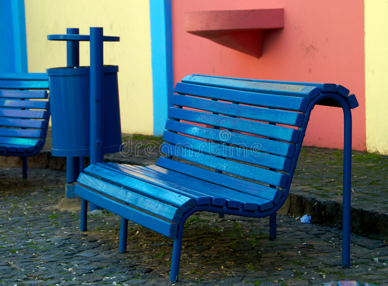 Caminito Bench. Bench on Caminito Street, Caminito is a tourist attraction in Buenos Aires, Argentina stock images