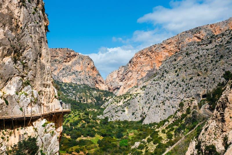 Caminito Del Rey, скалы в Андалусии, Испании стоковые изображения