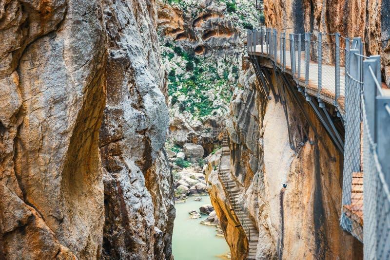 Caminito Del Rey in Andalusia, Spanje stock afbeeldingen