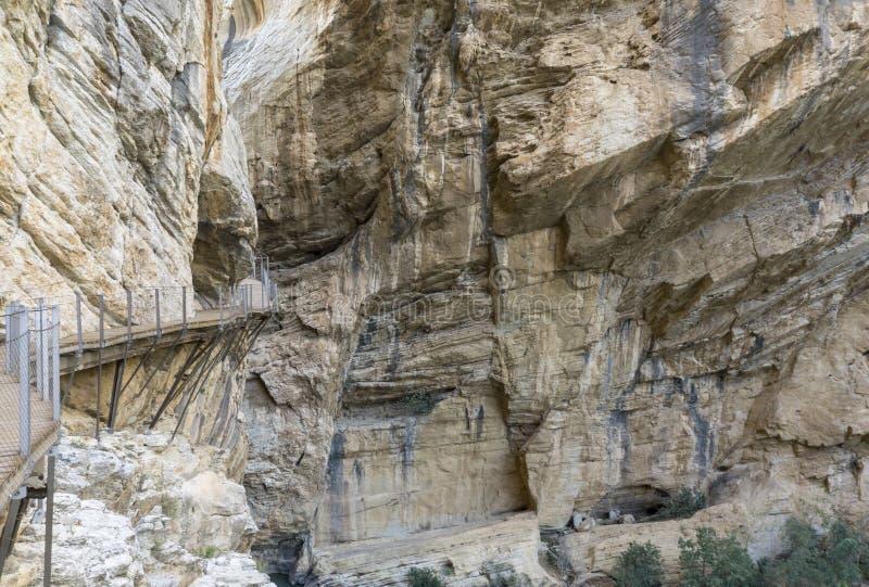 Caminito del Rey berg som fotvandrar slingan chorro el Malaga provin royaltyfria foton