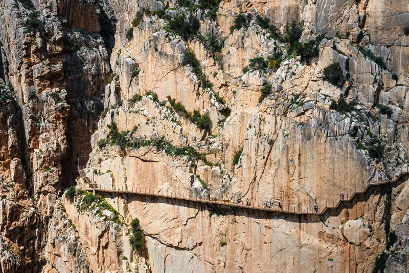 Caminito Del Rey - bergweg langs steile hellingen in Andalusia stock foto's