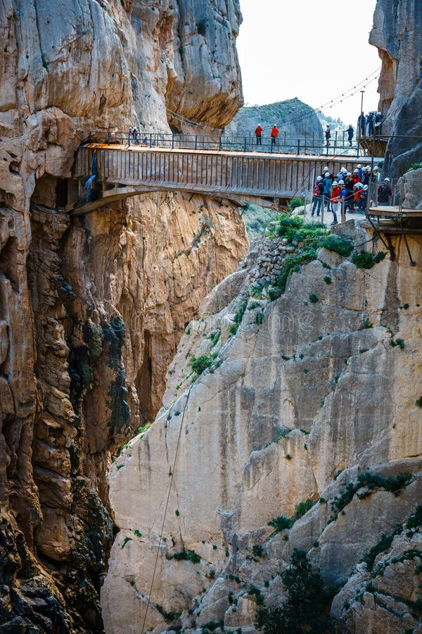 Caminito Del Rey - bergweg langs steile hellingen in Andalusia, Spanje royalty-vrije stock afbeeldingen